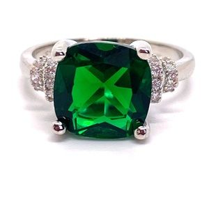 Jewelry - Emerald Cushion Cut Diamond Sterling Silver Ring